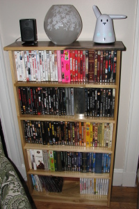 the dvd shelf in use