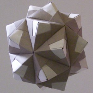 grey kusudama out of modified sonobe units