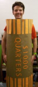 me in my roll of quarters costume